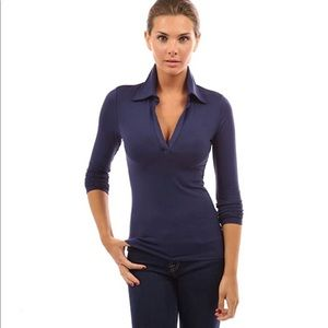 Pattyboutik navy blue long sleeve polo top